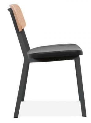 Rica Chair With A Chjarcoal PU Seat Side Angle