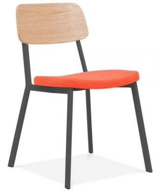 Rica Chair With An Orange Seat Front Angle