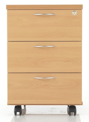 Riva Three Drawer Wooden Mobile Pedestal