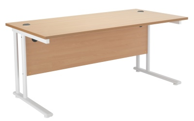 Velocity Rectangular Desk With A Beech Top And White Frame