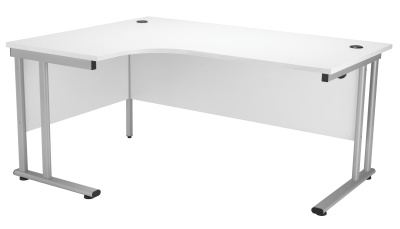 Velocity Left Hand Corner Desk With A White Top And Silver Frame