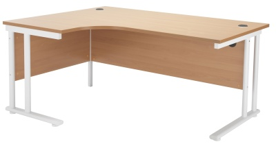 Velocity Left Hand Corner Desk With A Beech Top And White Frame