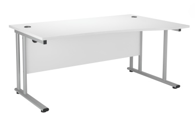 Velocity Right Hand Wave Desk With A White Top And Silver Frame