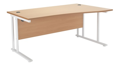 Velocity Right Hand Wave Desk Wit A Beech Top And A White Frame