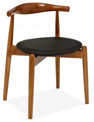 Elbow Chair With A Walnut Frame And Round Seat