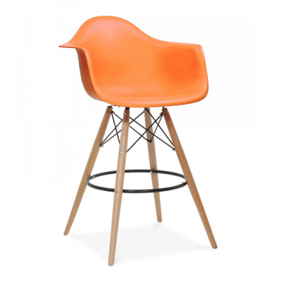 Eames DAW High Stool Orange Seat Front Angle