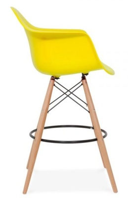 Eam,es DAW High Stool With A Yellow Seat Side View