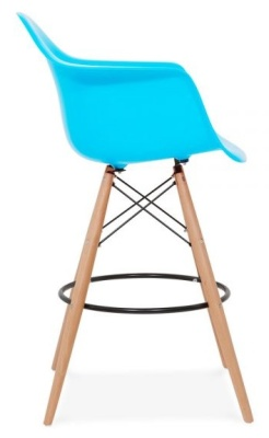 Eames DAW High Stool With A Light Blue Seat Side View