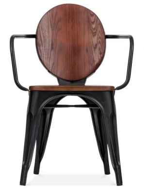 Louis Armchair With A Walnut Seat And Back Front View