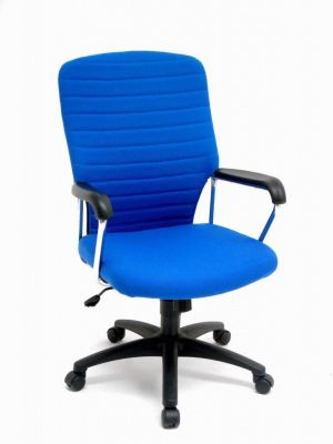 Trinity Direcors Chair With Blue Padded Back, Arm Rests And Spider Base With Castors