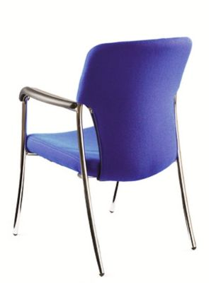 Trinity Visitors Chair With Blue Fabric Upholstery And Chrome Frame And Arms