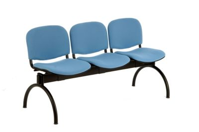 Tommy Hall Seats In Blue Upholstery With Black Steel Arch Legs