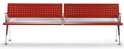 Transition Metal Beam Seating In Red Powder Coated Finish