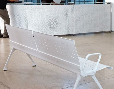 Reception With White Bench Seat With Armrests