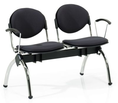 Bradley Black Upholstered 2 Seat Beam With Arm Rests