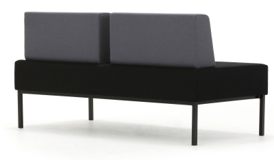 Loiter Two Seater Bench With Backs Rear Angle