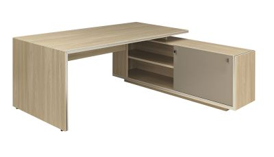 Vermont Executive Desk In Oak With Right Hand Side Cupboard