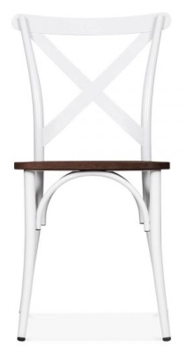 Cross Back Metal Chair In White Front Facing