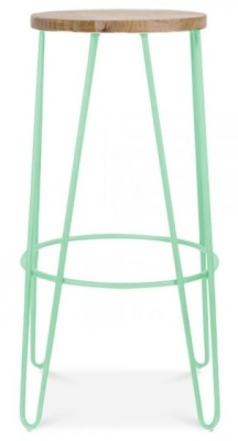 Hairpin Stool Peppermint Green Frame Side View