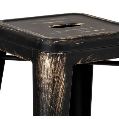 Avier Pauchatrd High Stool With A Black And Gold Finish Deail Shot