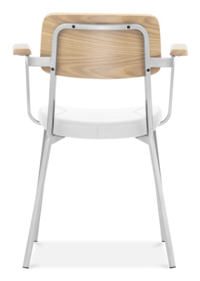 Rica Dining Armchair Wit A White Faux Leather Seat And White Frame Rear View