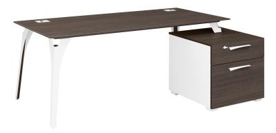 Xenon Executive Desk In Dark Oak With Supporting Pedestal