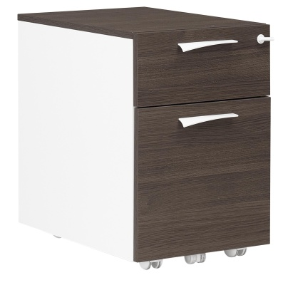 Xenon Two Drawer Mobiel Pedestal In Dark Oak