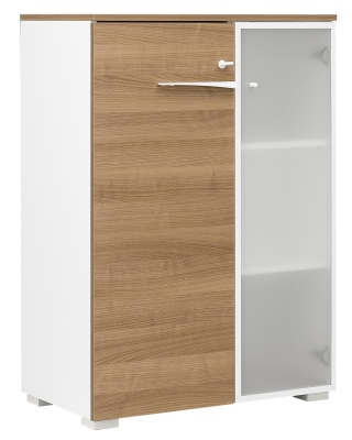 Xebon Mid Height Cupboard In Cherry With A Single Glass Door