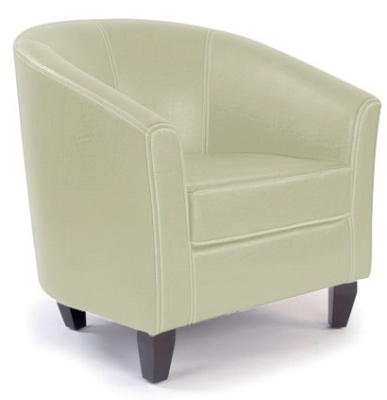 Metro Tub Chair Ivory Leather