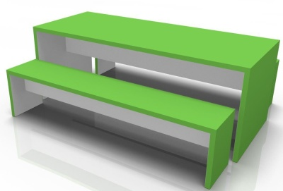 Wg Bench Set Lime Green Outer Grey Inner
