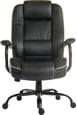 Goliato Chair Black Leather Front Shot