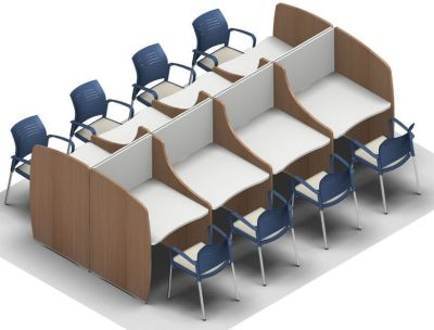 Offimat V2 Eight Person Study Booth With Full End Panels