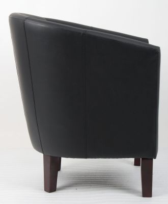 Leicester Black Leather Tub Chair Side View