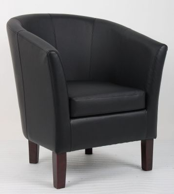 Leicester Black Leather Tub Chair Angle Shot