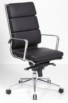 Topaz Eanes Tyle Executive Black Leather Chair Front Angle Shot