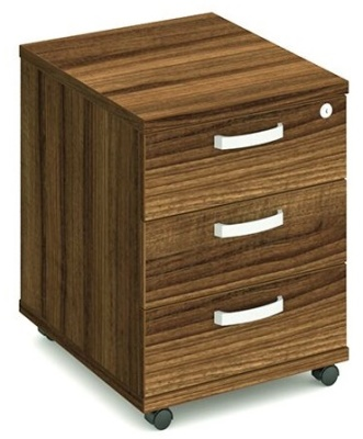 Revolution Three Drawer Mobile Pedestal In Walnut