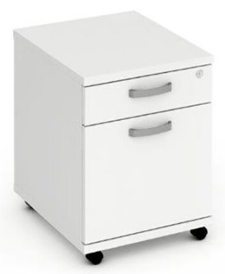 Revoloution Two Drawer Mjobile Pedestal In White