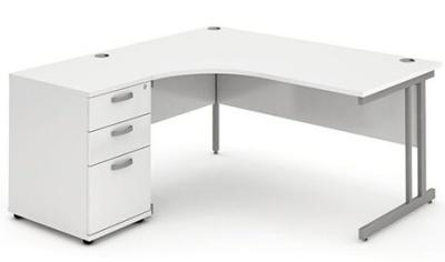 Revolution Left Hand Corner Desk And Pedestal In White