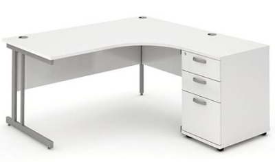 Revolution Right Hand Corner Desk And Pedestal In White