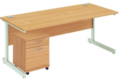 Abacus Rectangular Desk And Mobile Pedstal Draer Bundle