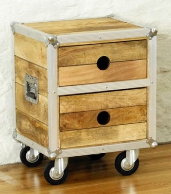 Roadie Reclaimed Lamp Table With Drawers