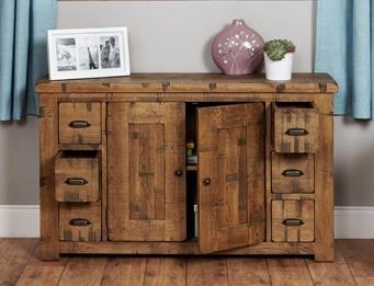 Hatfield Rough Sawn Oak Six Drawer Sideboard 2