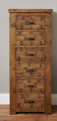 Warwick 6 Drawer Sawn Oak Tall Boy