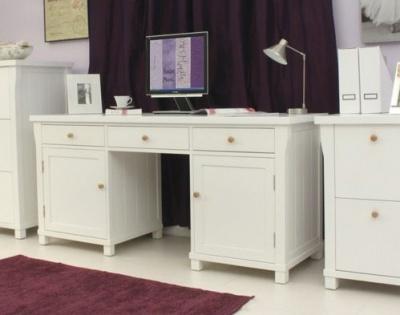 New England White Pedestal Desk 2