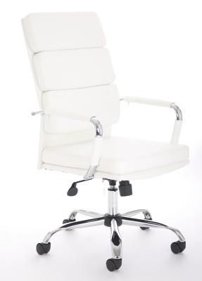 Evoque High Back Leather Chair In White Front Angle