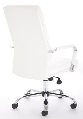 Evoque White Leather Executive Chair Rear Angle