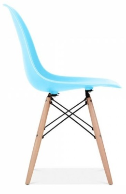 Eames Inspired DSW Chair Light Blue Shell Side View
