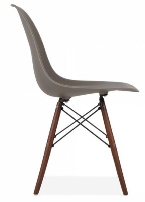 Eames Inspired DSW Chair With A Darlk Grey Shell And Walnut Legs Side View