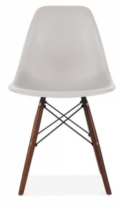 Eames Inspired Dsw Chair With A Lighgt Grey Shell And Walnut Legs Front View