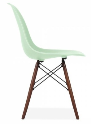 Eames Dsw Chair With A Peppermint Green Seat And Walnut Legs Side View